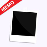 Memo polaroid photo on wall isolated Stock Photo