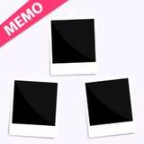 3 memo polaroid photo on wall. Isolated Stock Image