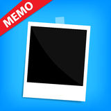 Memo polaroid photo on wall isolated. A memo polaroid photo on wall isolated Royalty Free Stock Images