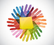 Memo post over diversity hands circle Royalty Free Stock Photo