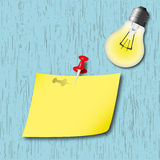 Memo sheet on board. The memo sheet on board and lamp Stock Photos