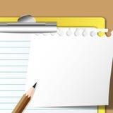 Memo sheet and pencil. On clip board Royalty Free Stock Photos