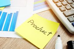 Stick with word product in business. Branding and marketing concept. Memo Stick with word product in business. Branding and marketing concept stock image