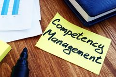 Memo stick with Competency management. Employee value proposition royalty free stock photo