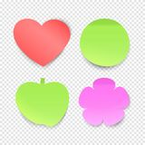 Memo stickers vector collection, sticky notes isolated on transparent background royalty free stock photo