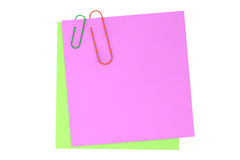 Memo Sticky Notes with Paper Clip Stock Images