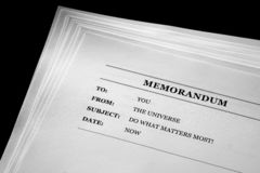 Memo From the Universe Positive Message Do What Matters Most royalty free stock photography