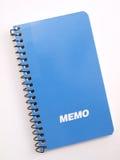 memoanmärkning för blå bok 2 Arkivbild