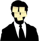 memoen för affärsmannen bemärker den klibbiga påminnelsen Arkivfoton