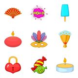 Memorable event icons set, cartoon style Stock Images