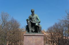 Memorable monument to the famous composer Rimsky-Korsakov in the park near the Mariinsky Theater in the city of St. Petersburg on royalty free stock photos