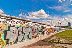 Memorable segment of Berlin Wall with graffiti Royalty Free Stock Photos