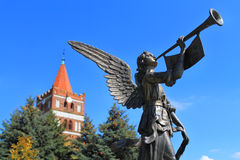 The memorable sign Angel of the World against Friedland's Lutheran church in the city of Pravdinsk Royalty Free Stock Photos