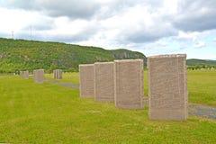 Memorable steles on a Russian-German memorial cemetery. Murmansk region Royalty Free Stock Photo