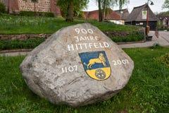 Memorable stone in Hittfeld town Stock Photo