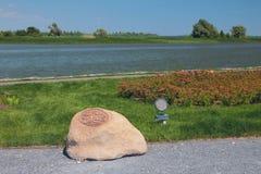 Memorable stone `Qol Ghali` on coast of Volga. Bulgar, Russia. 03-07-2016 royalty free stock photography