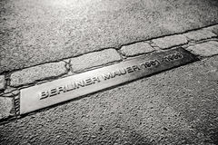 Memorable table Berliner mauer - Berlin wall in Germany. BERLIN, GERMANY - APRIL 8: Memorable table Berliner mauer - Berlin wall on April 8, 2017 in Berlin Stock Photo