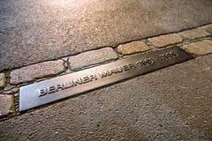 Memorable table Berliner mauer - Berlin wall in Germany. BERLIN, GERMANY - APRIL 8: Memorable table Berliner mauer - Berlin wall on April 8, 2017 in Berlin Stock Photography