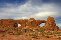 Memorable Windows Formation in Arches National Park. Easily recognized Windows natural sandstone formation in Utah landscape of popular Arches National Park Royalty Free Stock Images