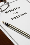 Memorando de la reunión foto de archivo