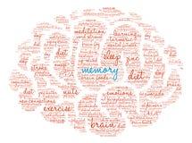 Memoria Brain Word Cloud Fotografía de archivo libre de regalías