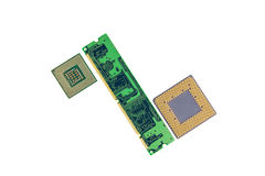 Memoria de computadora Chip With Two Processors Foto de archivo libre de regalías
