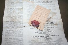Memoria della prima guerra mondiale sanguinosa di 1914 e la rivoluzione di 1917 immagini stock
