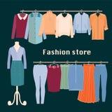 Memoria di vestiti Deposito dell'interno di modo del boutique royalty illustrazione gratis