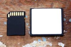 Memoria SD con la tarjeta flash compacta Fotografía de archivo libre de regalías