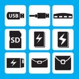 Memoria USB, cable del USB, eje, Memory Stick, banco del poder, icono de la batería Fotos de archivo