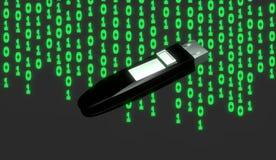 Memoria USB con el fondo del código binario Fotos de archivo