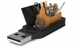 Memoria USB del rescate en el fondo blanco Fotografía de archivo