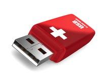 Memoria USB del rescate en el fondo blanco Foto de archivo