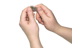 Memoria USB en manos Imagen de archivo libre de regalías