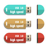 Memoria USB fijada Imagenes de archivo