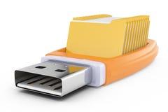 Memoria USB y carpetas ilustración del vector