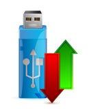 Memoria USB y flecha Fotografía de archivo libre de regalías