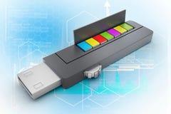 Memoria USB y libros stock de ilustración