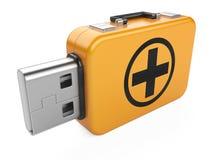 Memoria USB y muestra de los primeros auxilios Foto de archivo