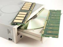 Memoria y mecanismo impulsor para el CD-ROM Foto de archivo libre de regalías