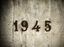 Memorial. Write 1945 memorial on a wall Royalty Free Stock Image