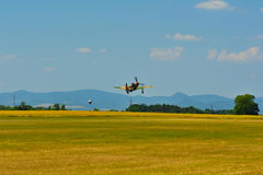 Memorial Airshow. Aircraft Jak-9 in aviation fair and century air combats. Royalty Free Stock Image