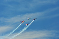Memorial Airshow. Flying Bulls aerobatics team with ExtremeAir XA42 planes. Memorial Airshow, 24th of June 2017, Roudnice, Czech Republic. Flying Bulls aerobatic Royalty Free Stock Image