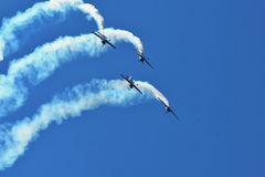 Memorial Airshow. Flying Bulls aerobatics team with ExtremeAir XA42 planes. Memorial Airshow, 24th of June 2017, Roudnice, Czech Republic. Flying Bulls aerobatic Stock Images