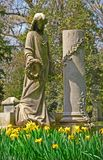 Memorial angel. Memorial grave markers at historic Spring Grove Cemetery in Cincinnati Ohio USA.  Spring Grove is the second largest cemetery in the United Stock Photography