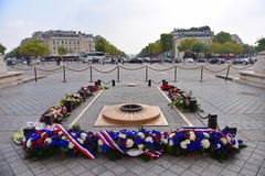 Memorial at Arc de Triomphe, one of the most famous monuments Stock Photo