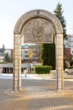 Memorial Arch of Saint Nicholas in the center of Bourgas, Bulgaria stock images