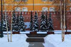 Memorial architectural ensemble of the Tomb of Unknown Soldier in Alexandrovsky garden near the walls of Moscow Kremlin Royalty Free Stock Photos