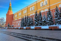 Memorial architectural ensemble of the Tomb of Unknown Soldier in Alexandrovsky garden near the walls of Moscow Kremlin Stock Photos