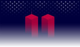 9/11 Memorial background with red Twin Towers, New York. Dark bl. Ue background w/ stars. 911 Remembrance Day USA vector Stock Illustration